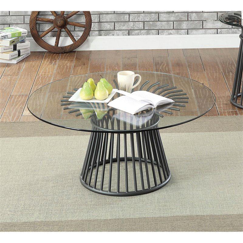 furniture of america sura round glass top coffee table in gun metal walmart com