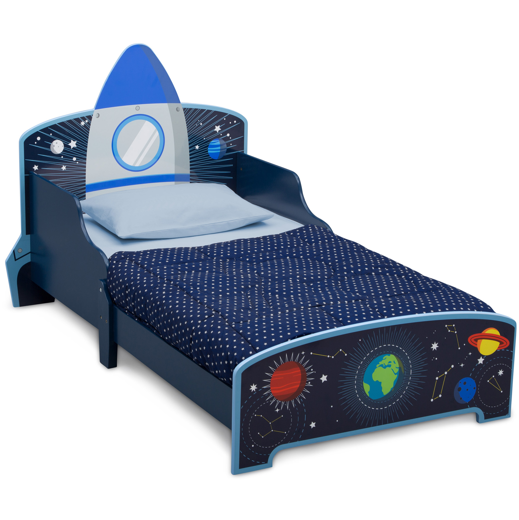 delta children space adventures rocket ship wood toddler bed