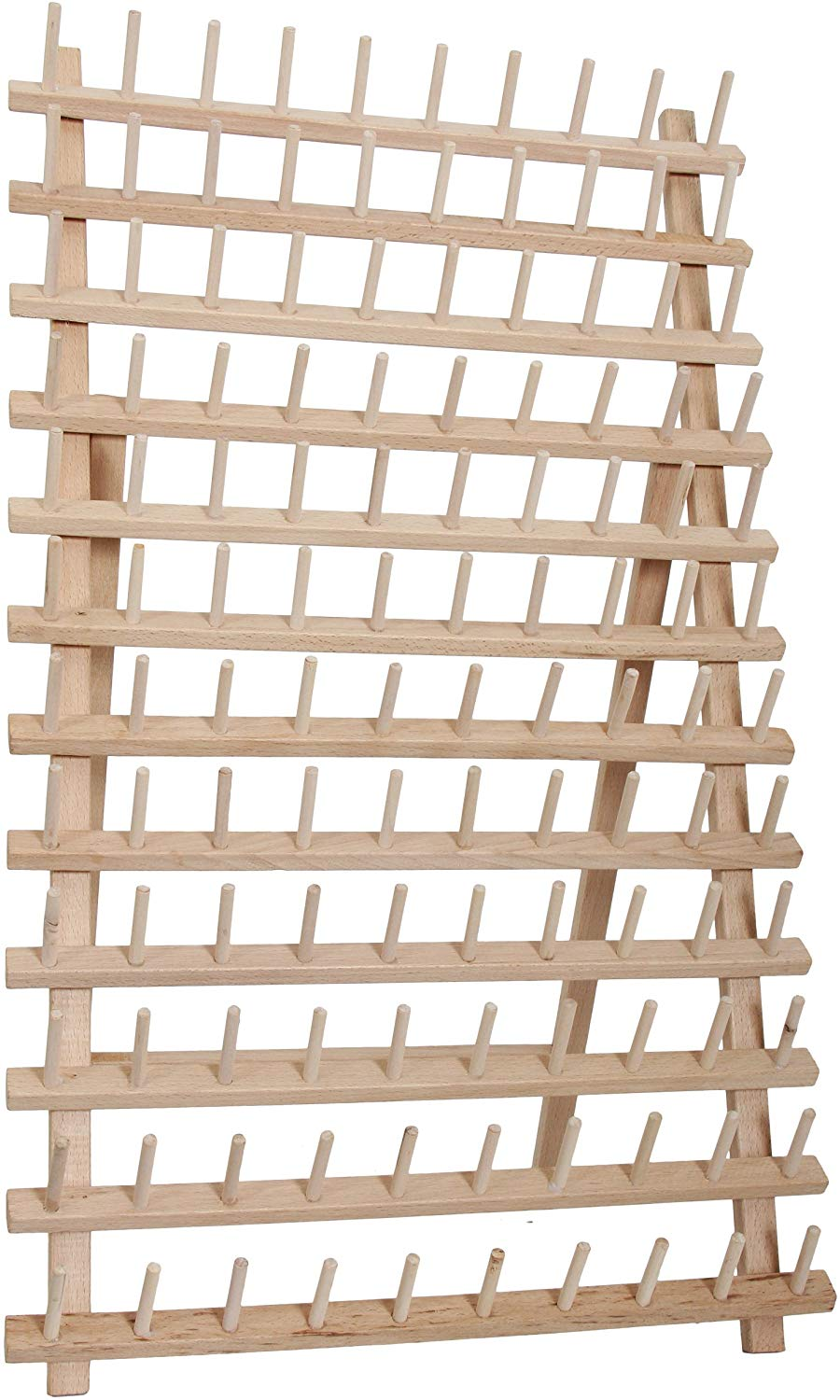 threadart 120 spool cone wood thread rack made of hardwood sturdy freestanding or wall mount 3 sizes available