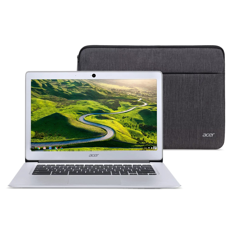 Acer Chromebook 14, Intel Atom x5-E8000 Quad-Core Processor, 14″ HD, 4GB LPDDR3, 32GB eMMC, Protective Sleeve, CB3-431-12K1