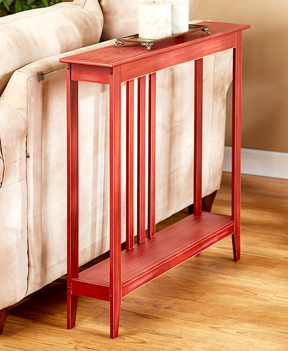 slim space saving accent tables antiqued country red walmart com
