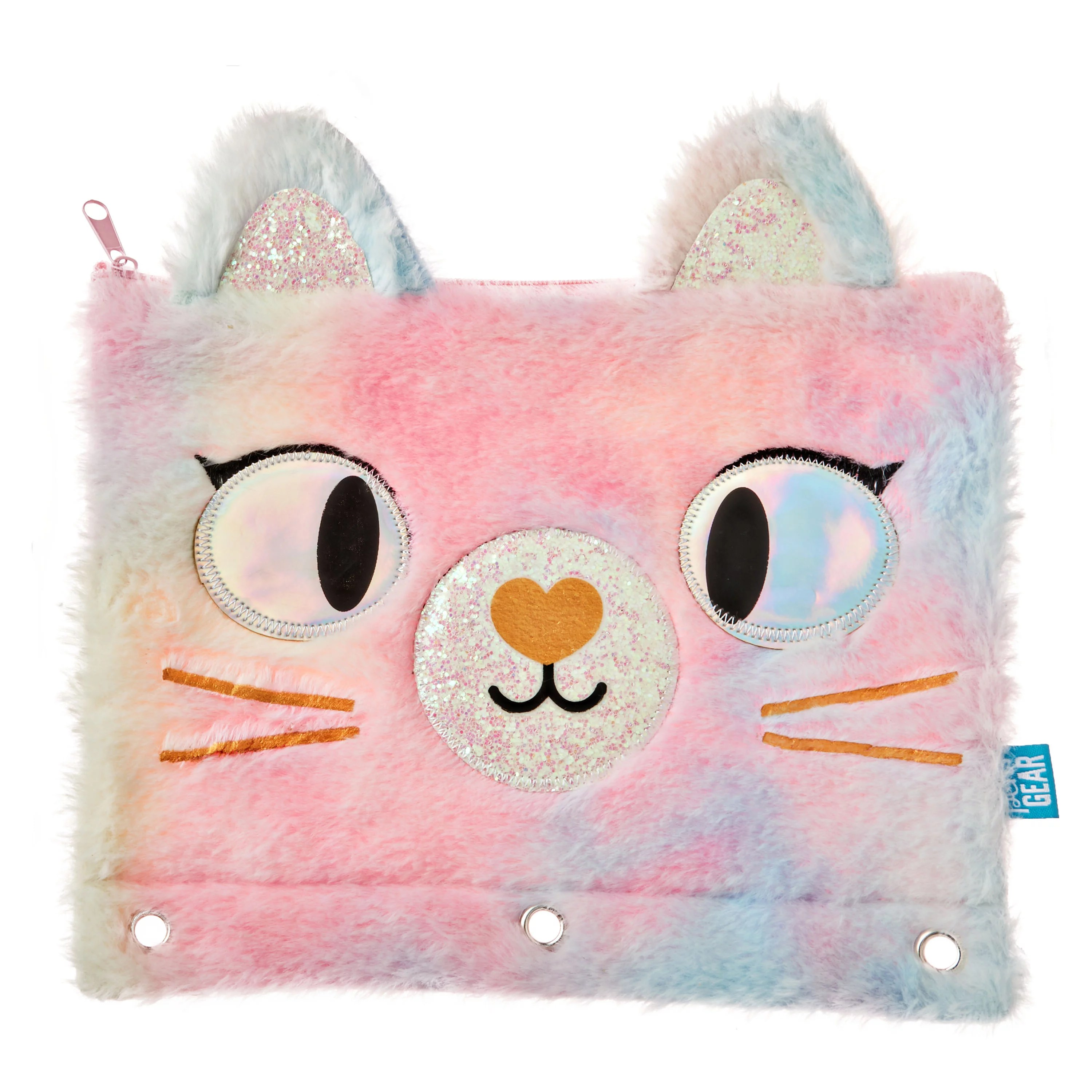 pen gear 3 ring soft multi color polyester plush kitty binder pencil pouch with zip compartment