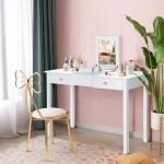 Costway Vanity Table Dressing Table Flip Top Desk Mirror 2 Drawers Furniture White Walmart Com Walmart Com