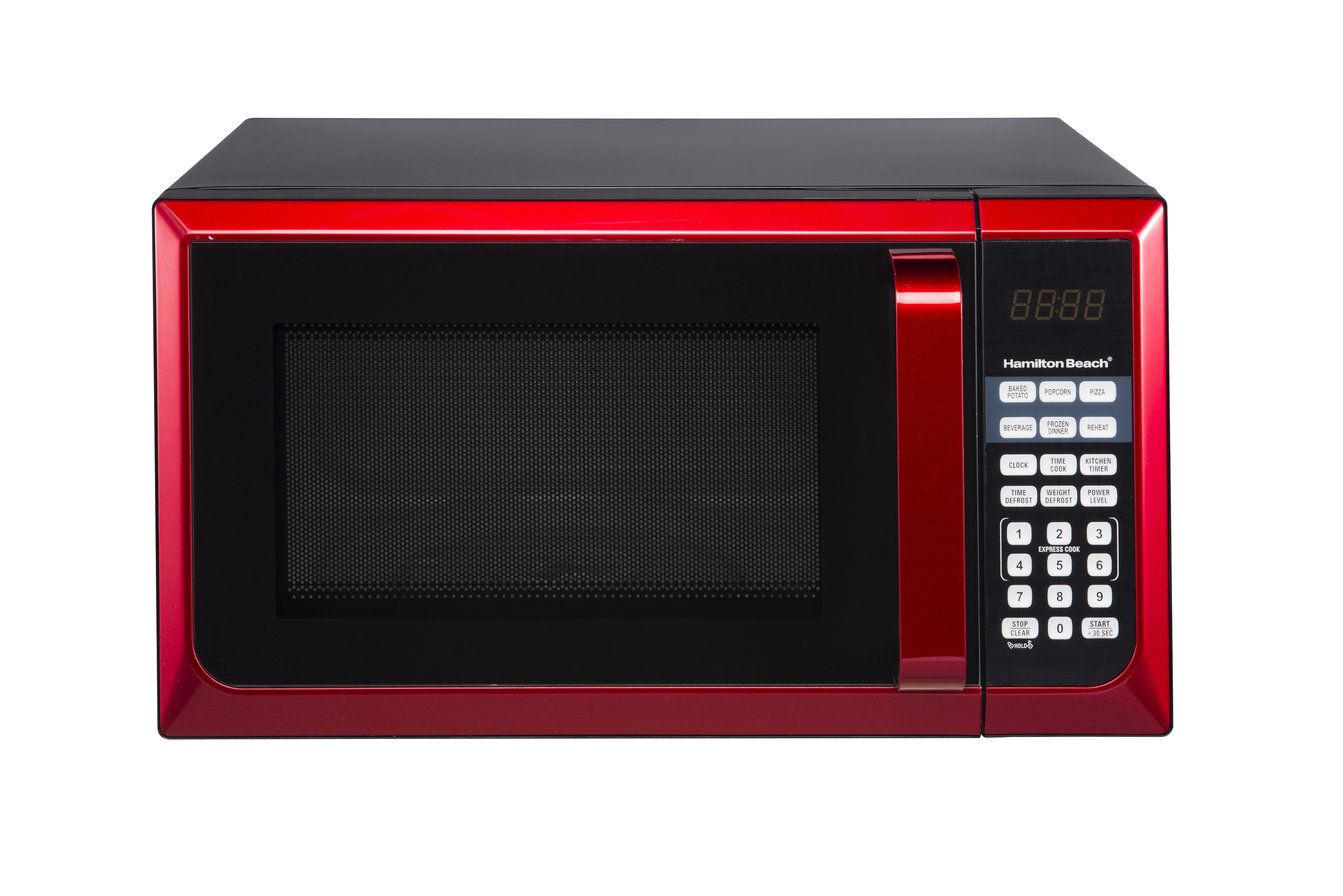 hamilton beach stainless steel 0 9 cu ft red microwave oven walmart com