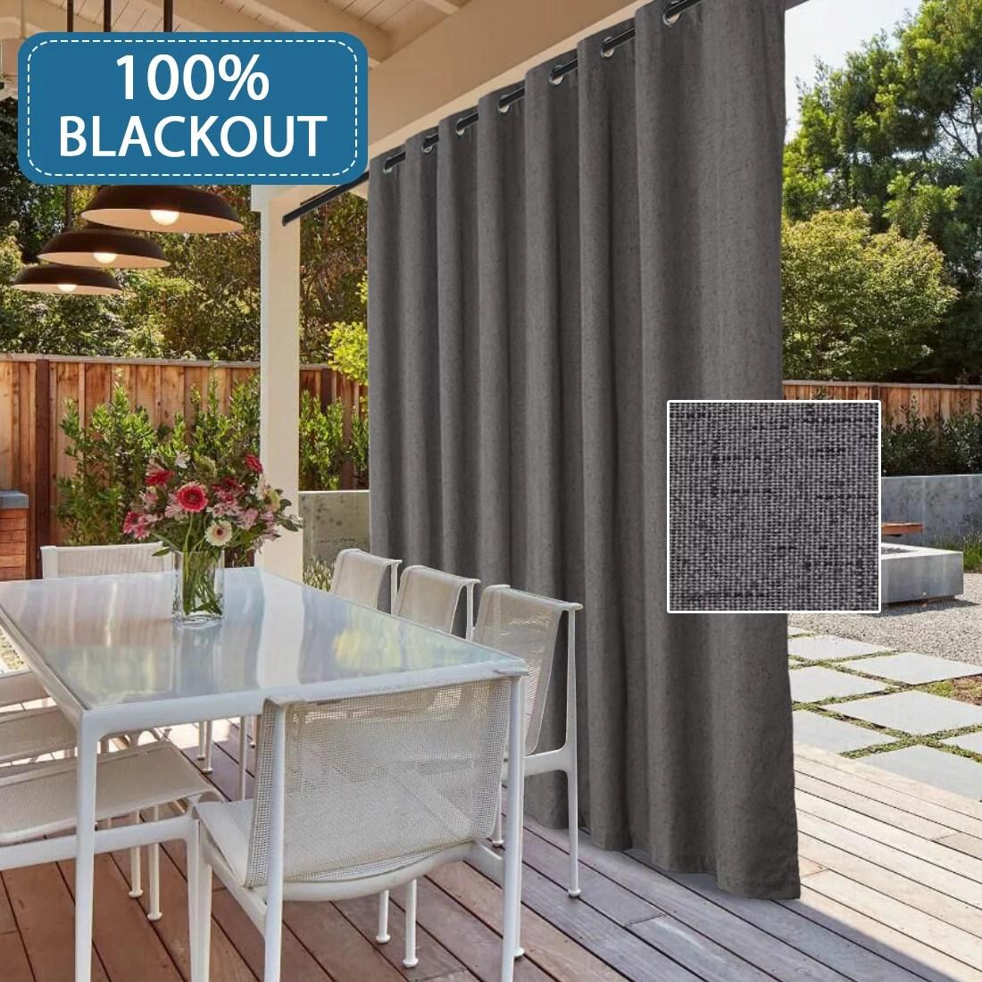 100 blackout textured linen patio door curtains thermal drapes energy efficient waterproof door blinds for sliding glass with anti rust grommet top