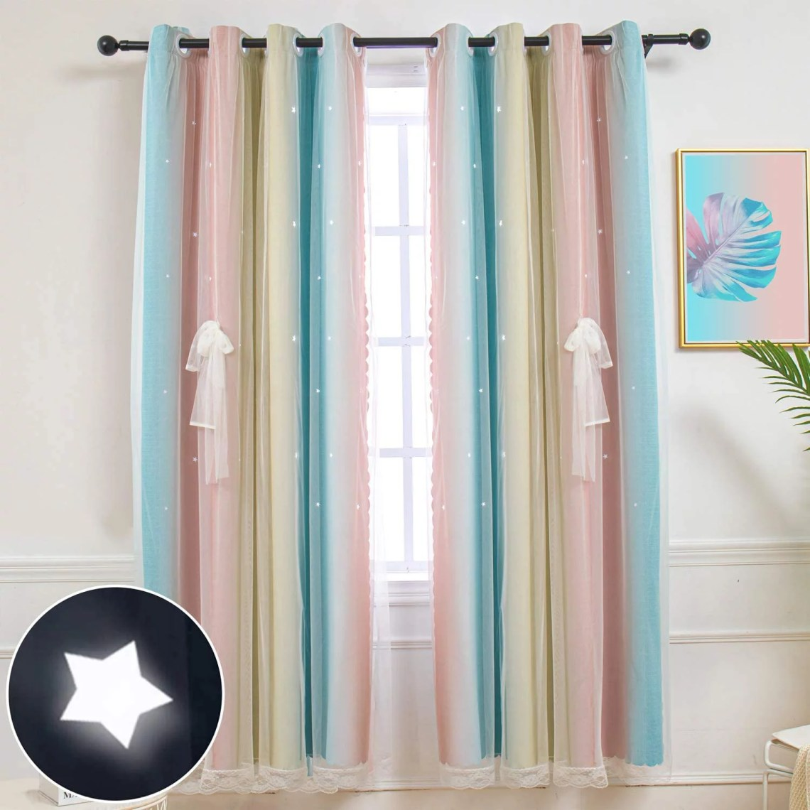 Star Curtains Stars Blackout Curtains For Kids Girls Bedroom Living Room Colorful Double Layer Star Cut Out Stripe Window Curtains 1 Panel 52w X 63l Pink Blue Walmart Com Walmart Com