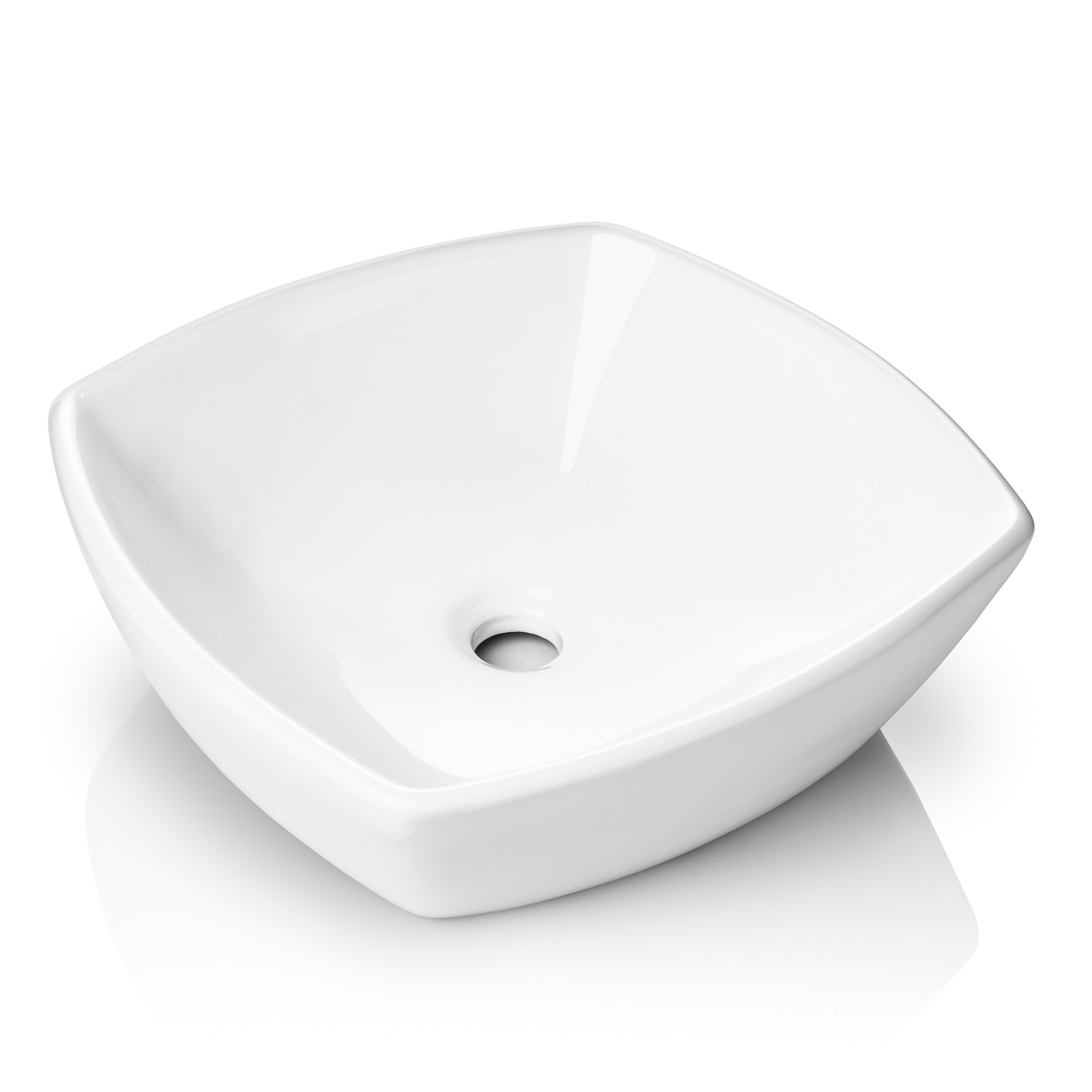 miligore 16 x 16 flared square white ceramic vessel sink modern above counter bathroom vanity bowl