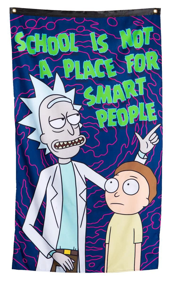 calhoun rick and morty indoor tapestry wall banner 30 by 50 rick school