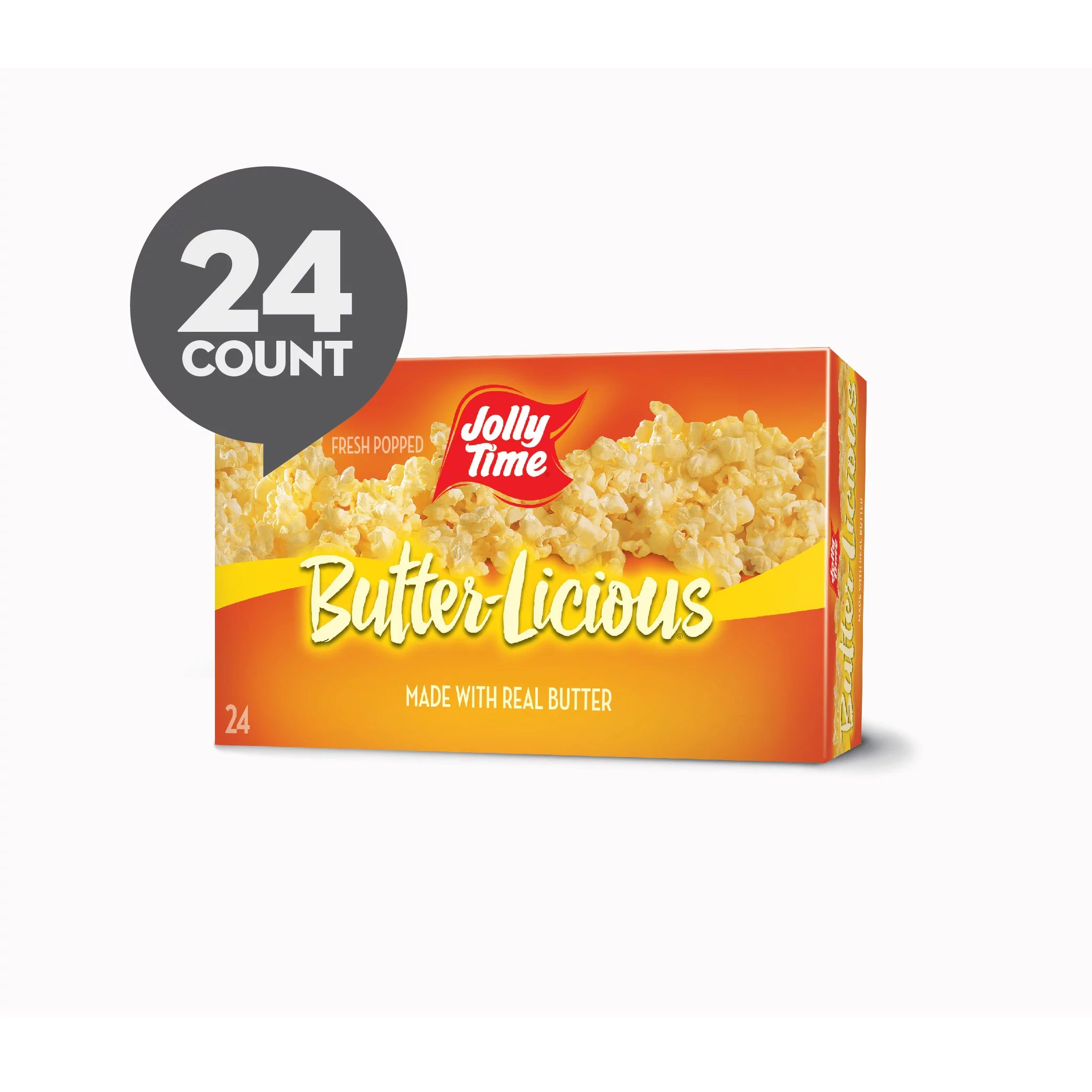 jolly time butter licious original buttery microwave popcorn snack gluten free with real buttered corn homestyle flavor 24 bags 3 oz each