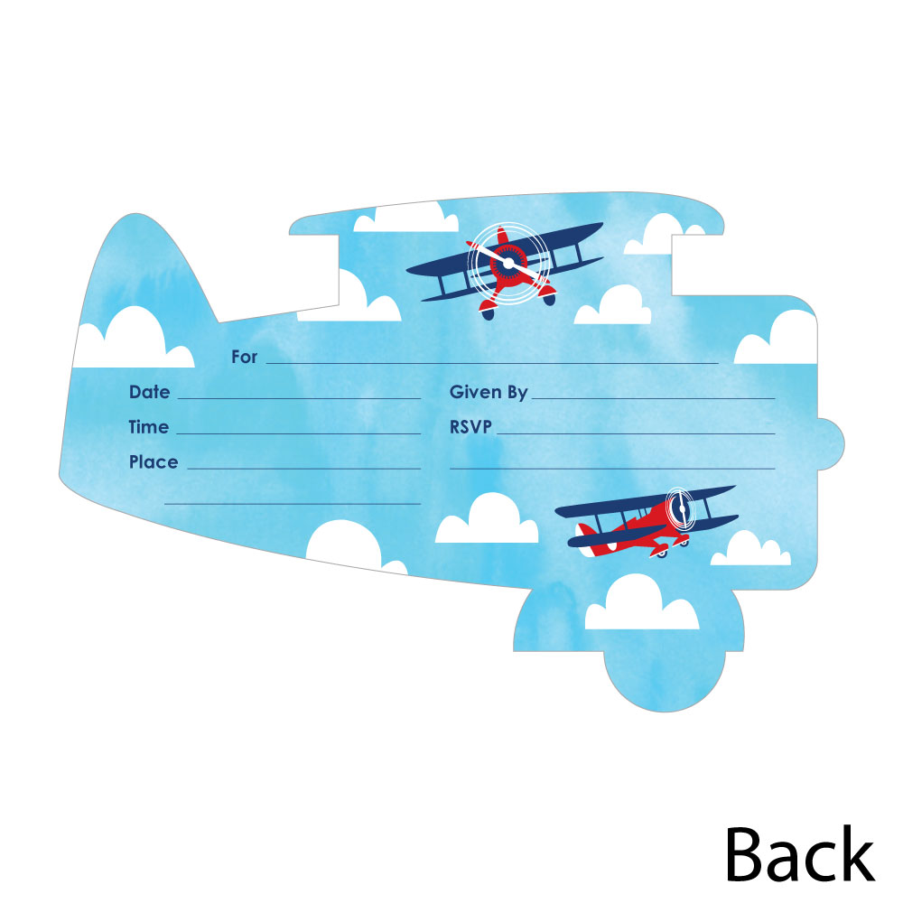 taking flight airplane shaped fill in invitations vintage plane baby shower or birthday party invitation 12 ct