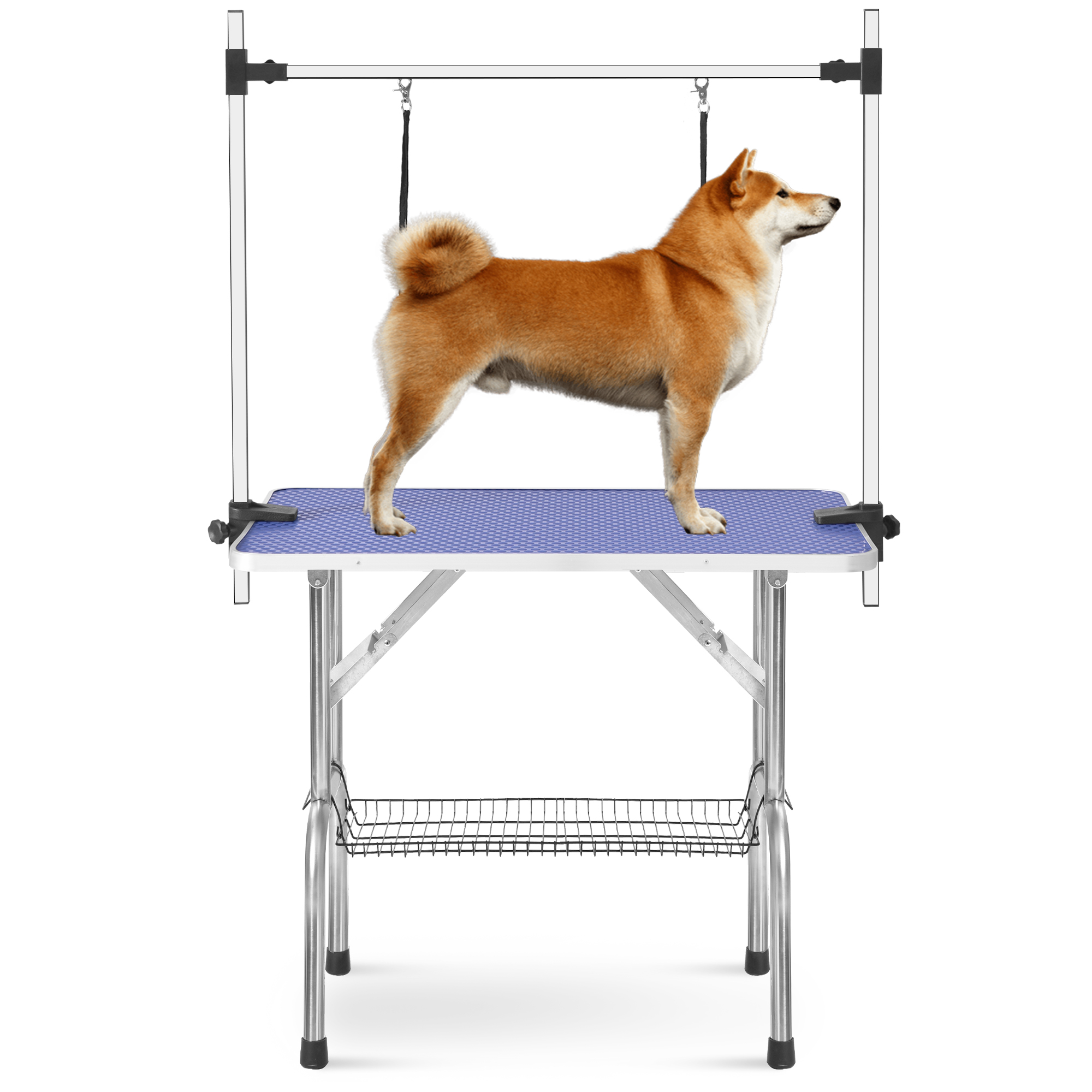 "Dog Grooming Table Best Deal, 36"" Folding Pet Grooming Table with Arm Noose & Mesh Tray, Heavy Duty Stainless Steel Pet Trimming Table for Large Dogs Adjustable Height, Capacity Up to 300lbs,I9433"