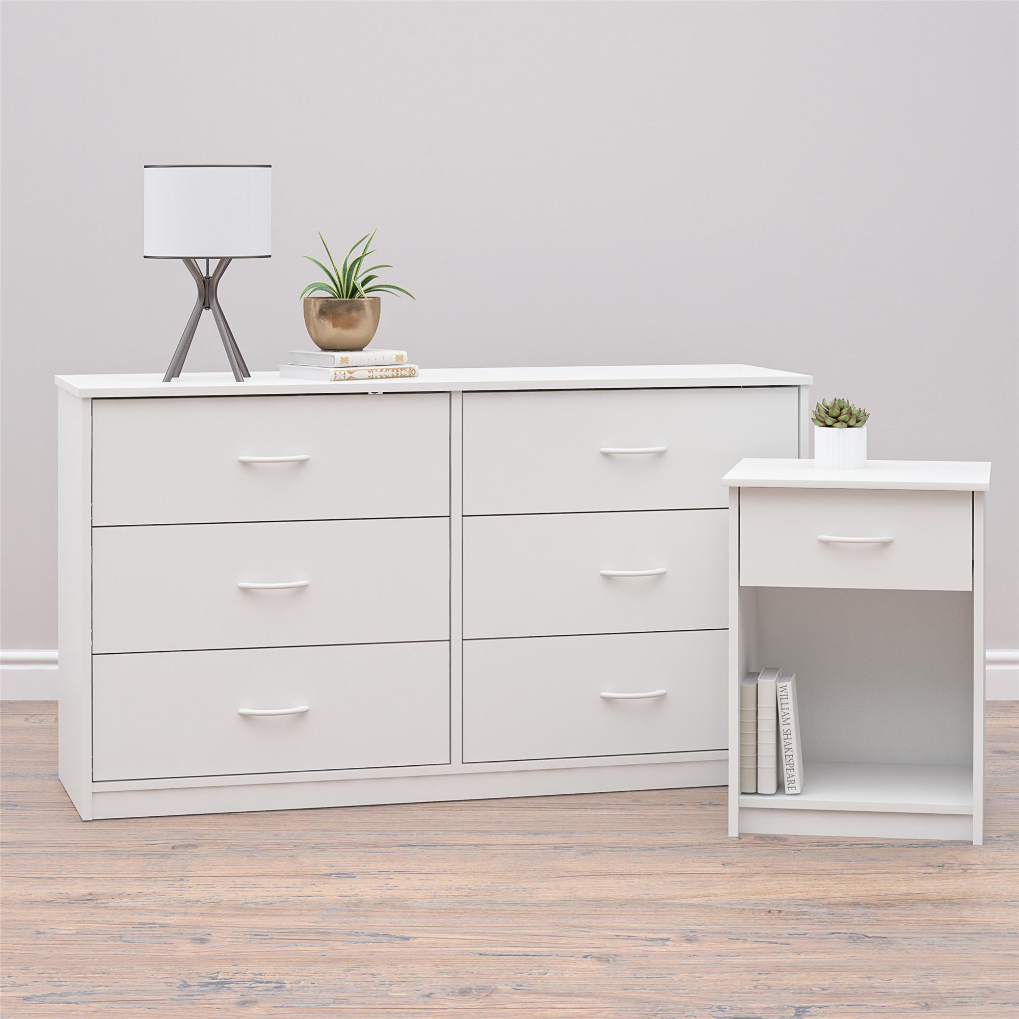 mainstays classic nightstand with drawer white