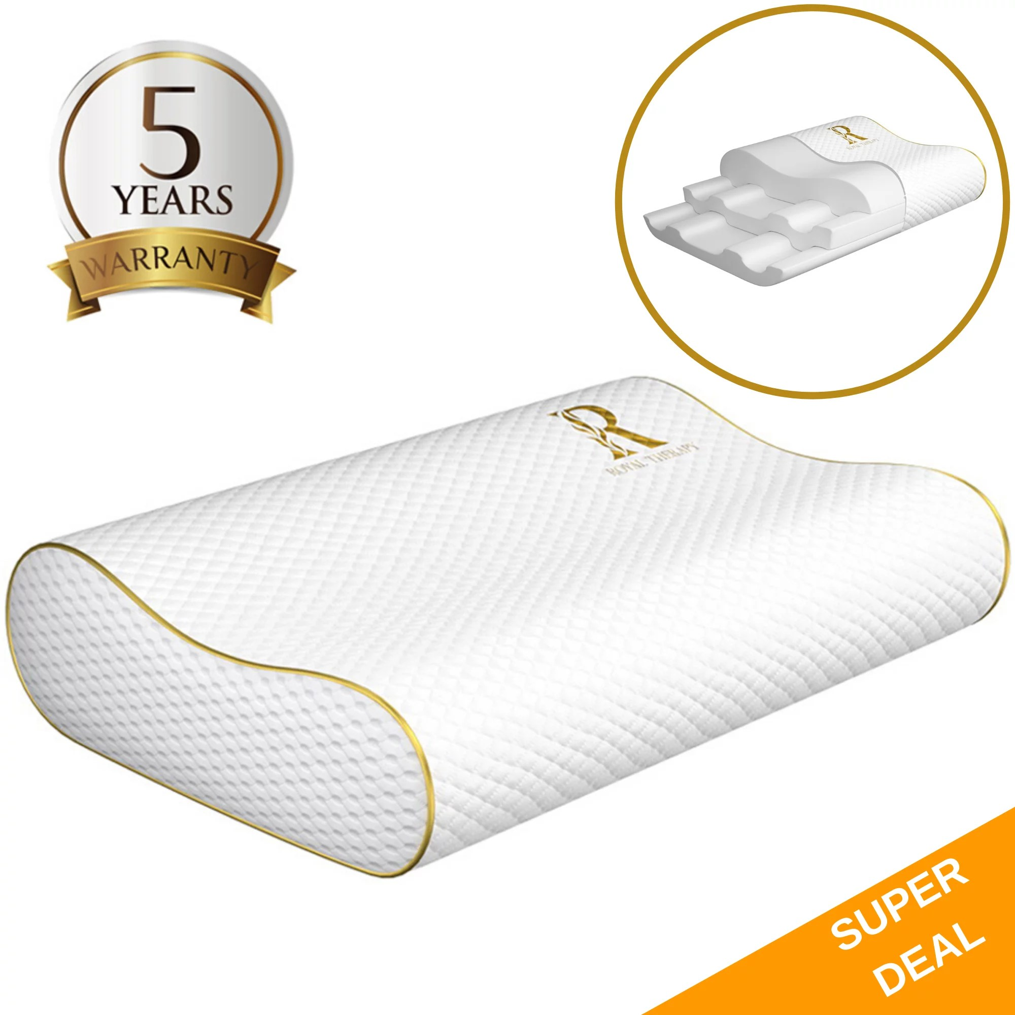 royal therapy king memory foam pillow bed pillow for neck shoulder support tempurpedic contour pillow walmart com