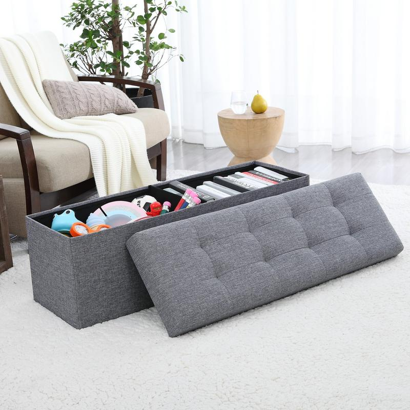 ornavo home foldable tufted linen large storage ottoman bench foot rest stool seat 15 x 45 x 15