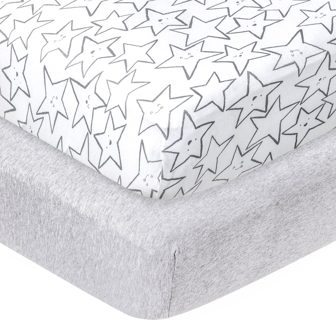 Little Stars Organic 100% Pure Cotton Jersey Knit FItted Crib Sheets, Grey Little-Dreamer 2pk