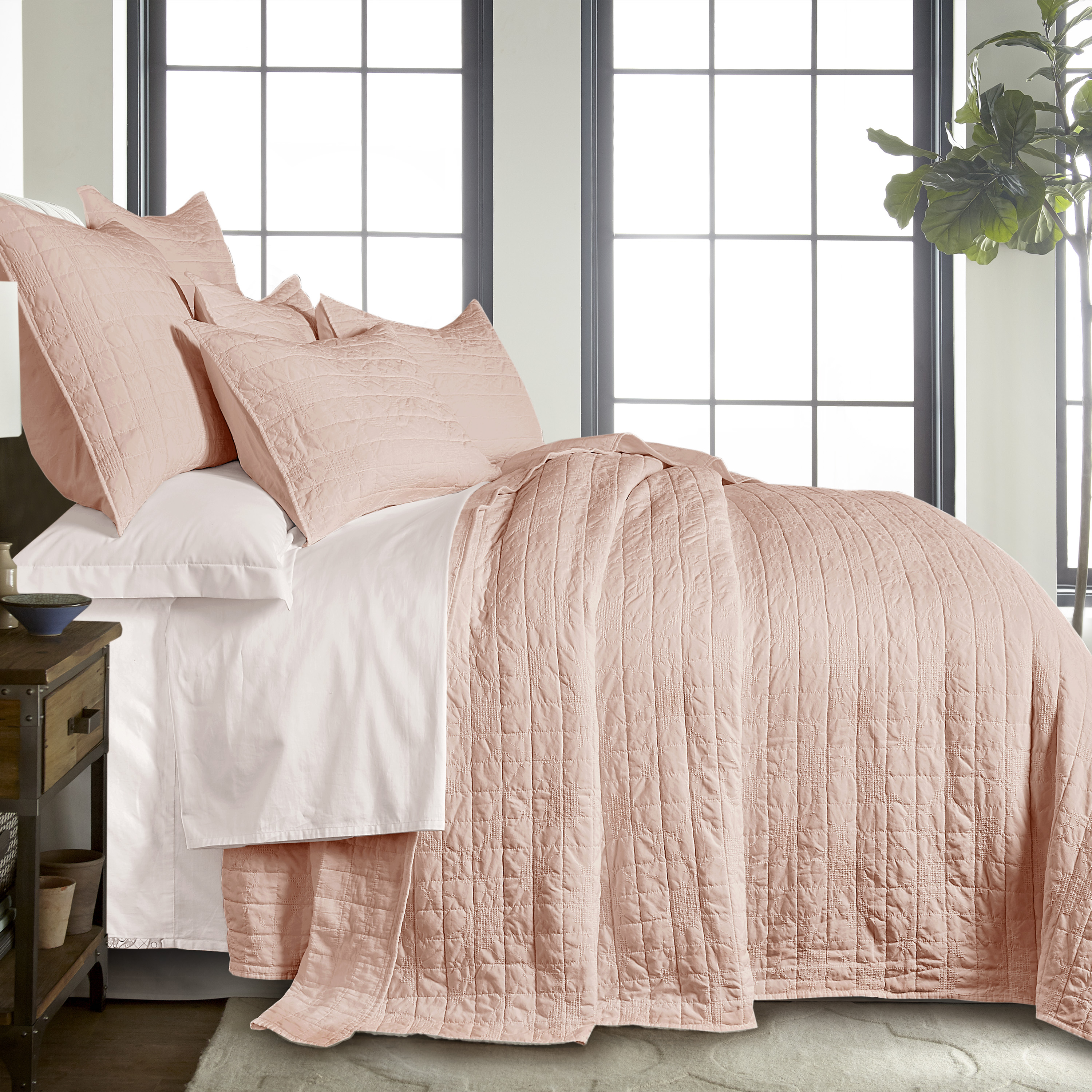 homthreads bowie bedspread set queen bedspread two standard pillow shams microfiber jacquard geo floral blush pink bedspread size 102 x 118 in and pillow sham size 26 x 20 in walmart com walmart com