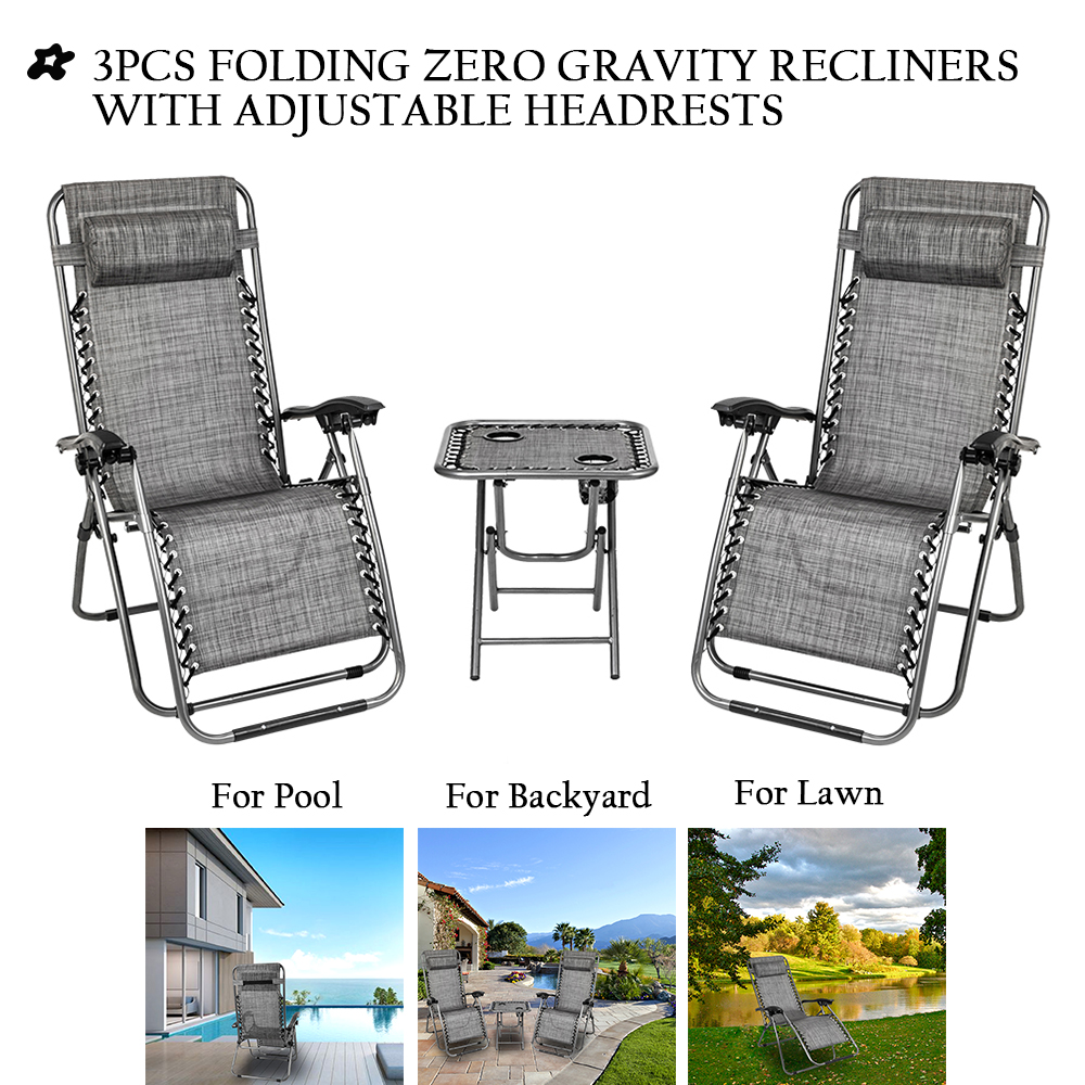 reclining patio chairs 3pcs foldable camp lounge chair zero gravity with adjustable headrests strong beach chairs and table with 2 cup holders hold