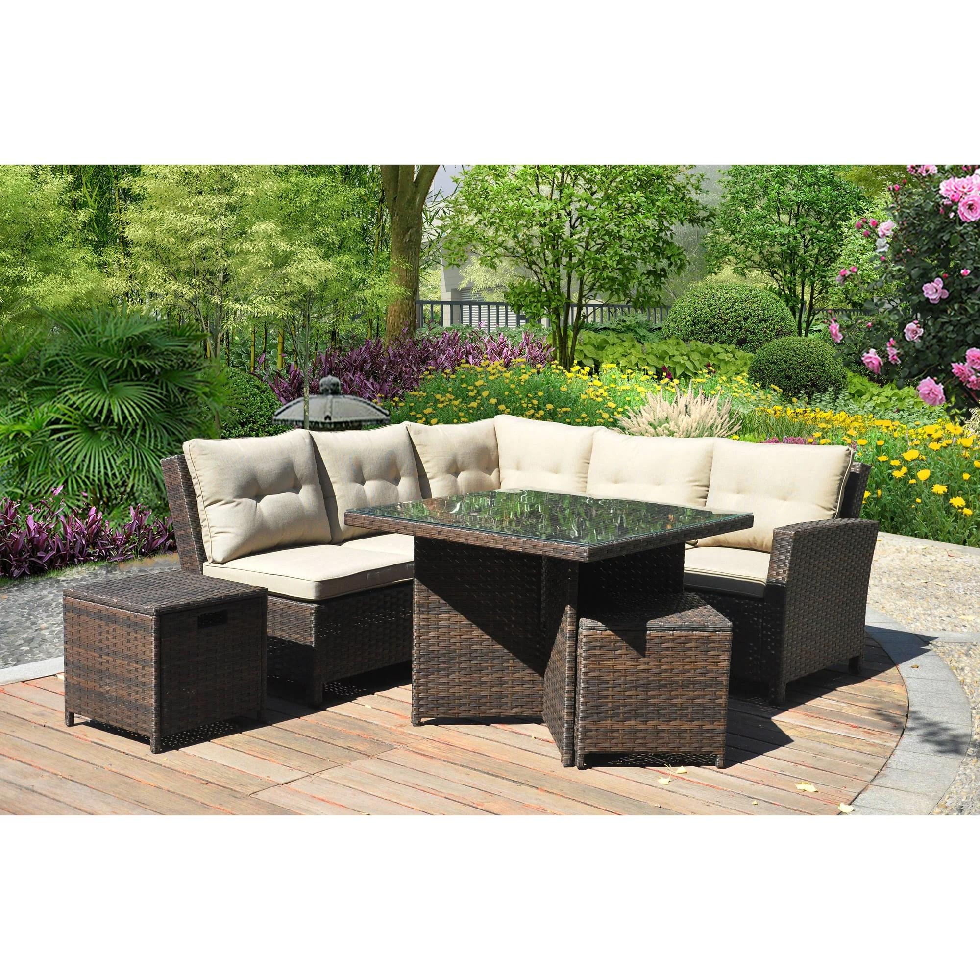 better homes and gardens baytown 5 piece woven sectional sofa set seats 5 walmart com