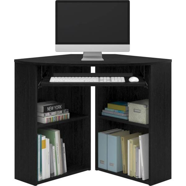 Mainstays Corner Desk with Keyboard Tray and Shelves  Black     Mainstays Corner Desk with Keyboard Tray and Shelves  Black   Walmart com