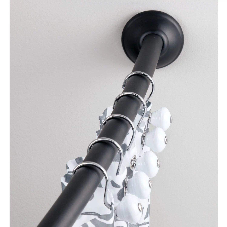 interdesign curved shower curtain rod matte black