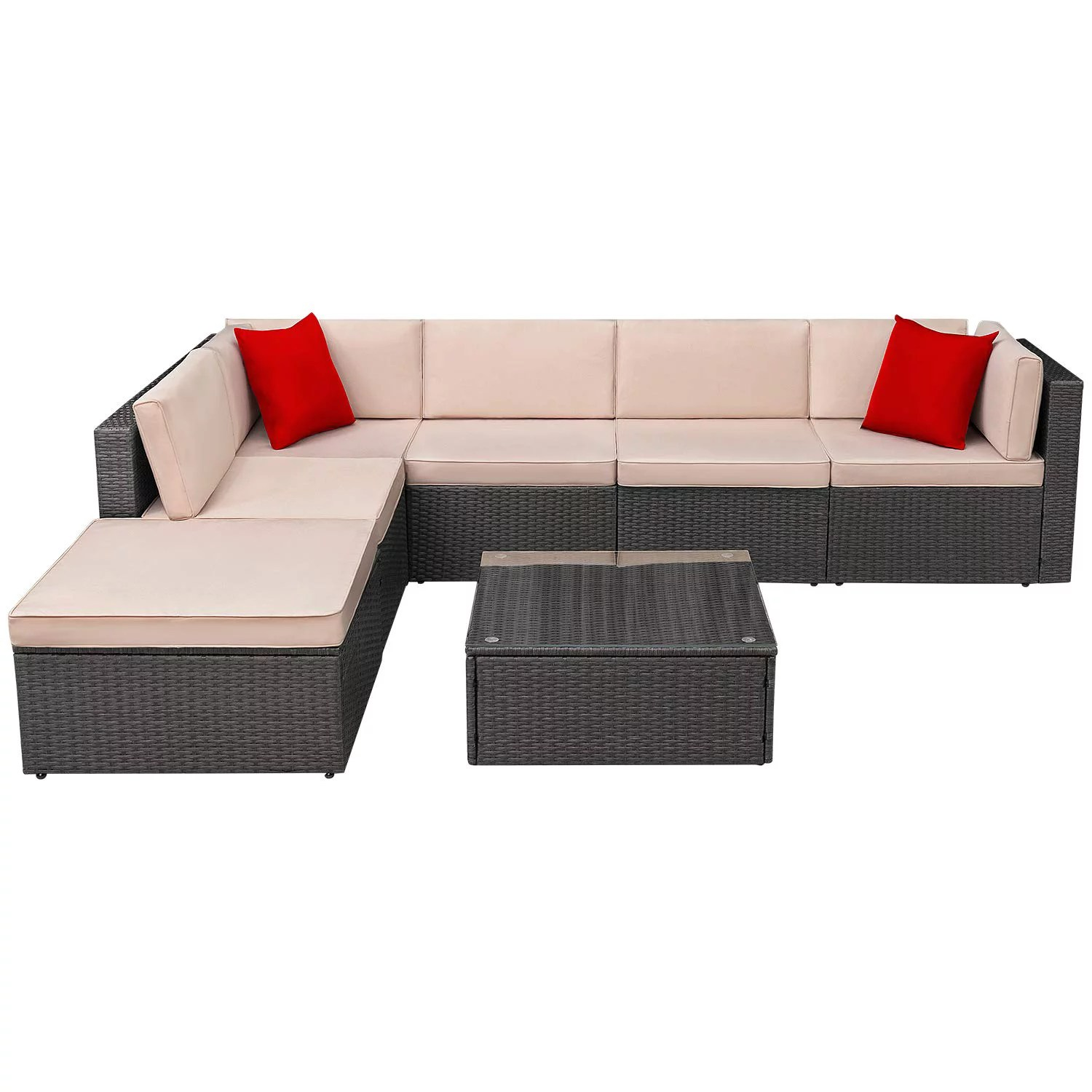 walnew 7 pieces outdoor patio furniture sofa set all weather pe rattan wicker sectional sets modern modular couch outside conversation set with thick