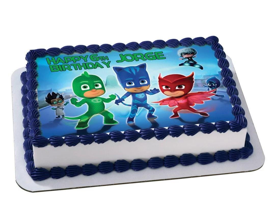 Pj Masks Disney Junior Quarter Sheet Edible Photo Birthday Cake Topper Personalized 1 4 Sheet Nbsp Walmart Com Walmart Com