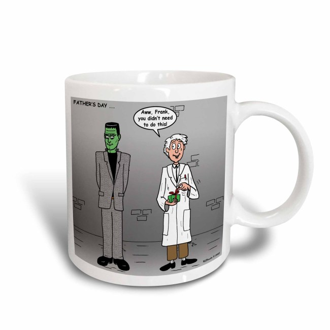 3dRose Fathers Day with Dr Frankenstein and his monster, Ceramic Mug, 15-ounce