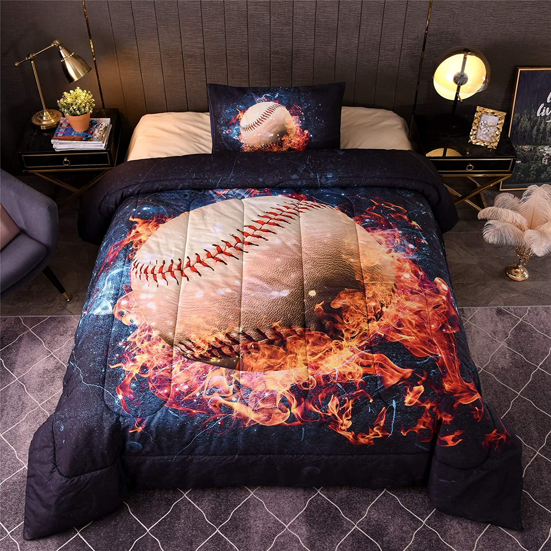 meeting story baseball with fire printed comforter sets for children boy girl teen kids 3d sports themed bedding reversible comforter set