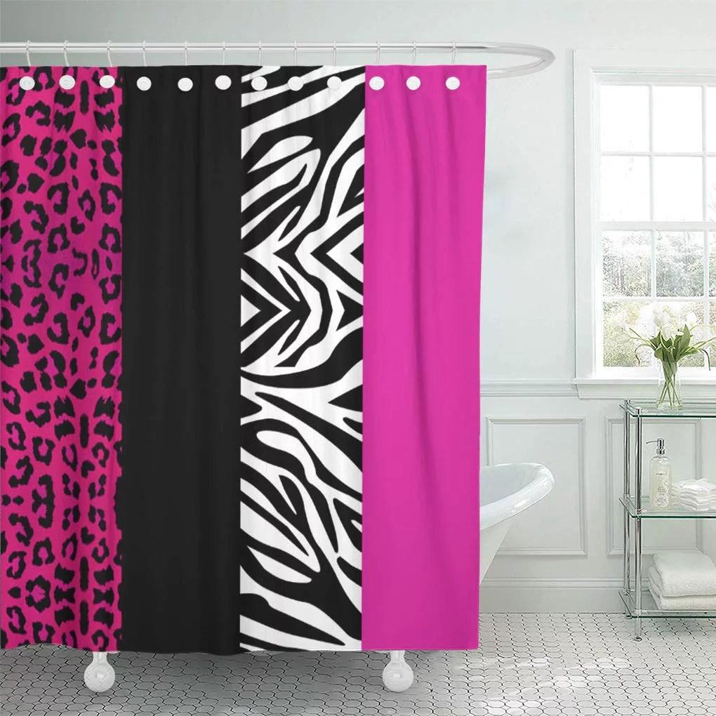 suttom cheetah hot pink leopard and zebra white black shower curtain 60x72 inch