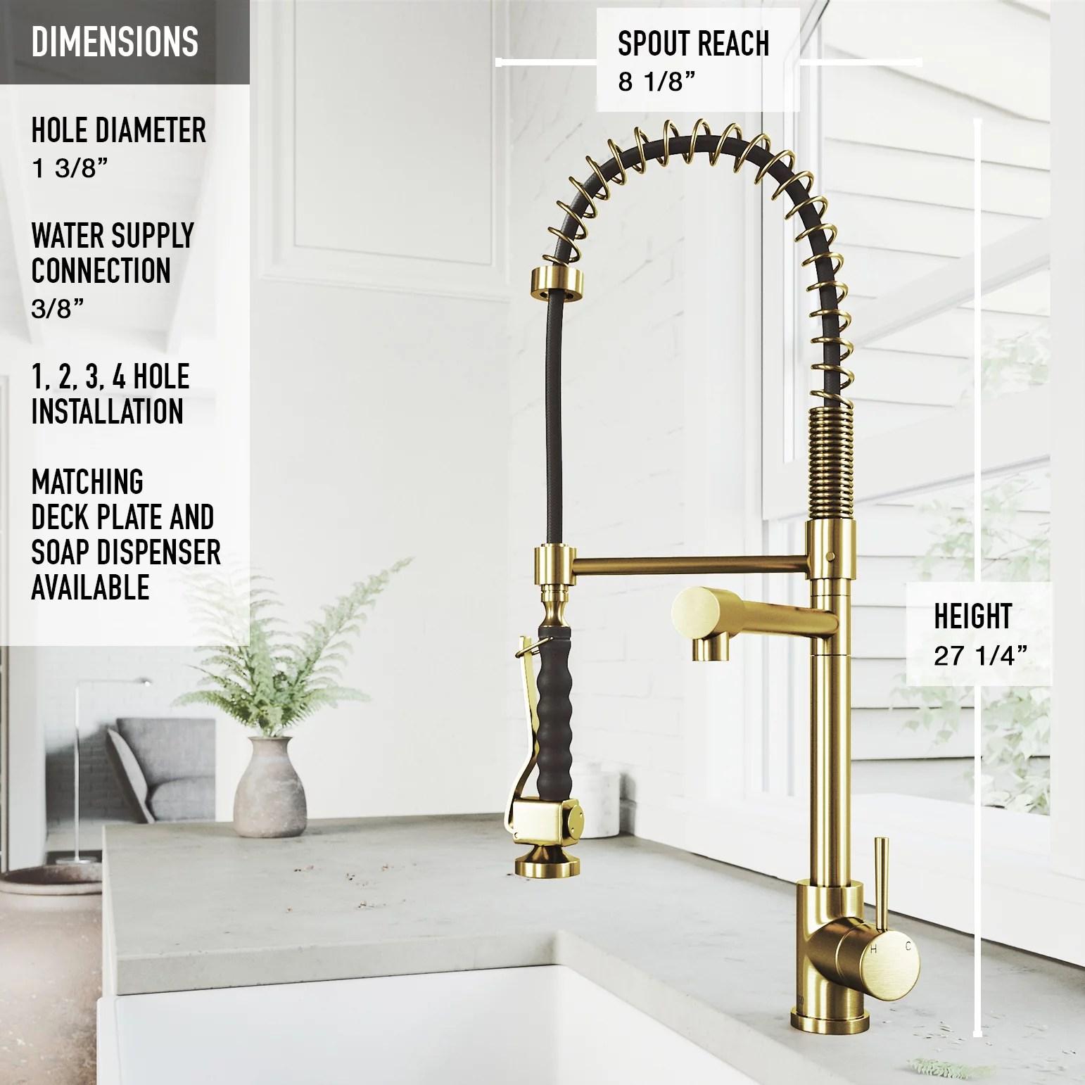 vigo zurich pull down spray kitchen faucet in matte brushed gold