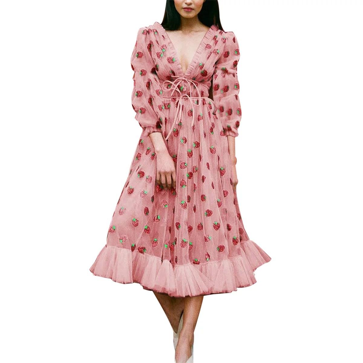 ducklingup women s fashion strawberry sequin dress summer short or long sleeve v neck slim fit a line dress
