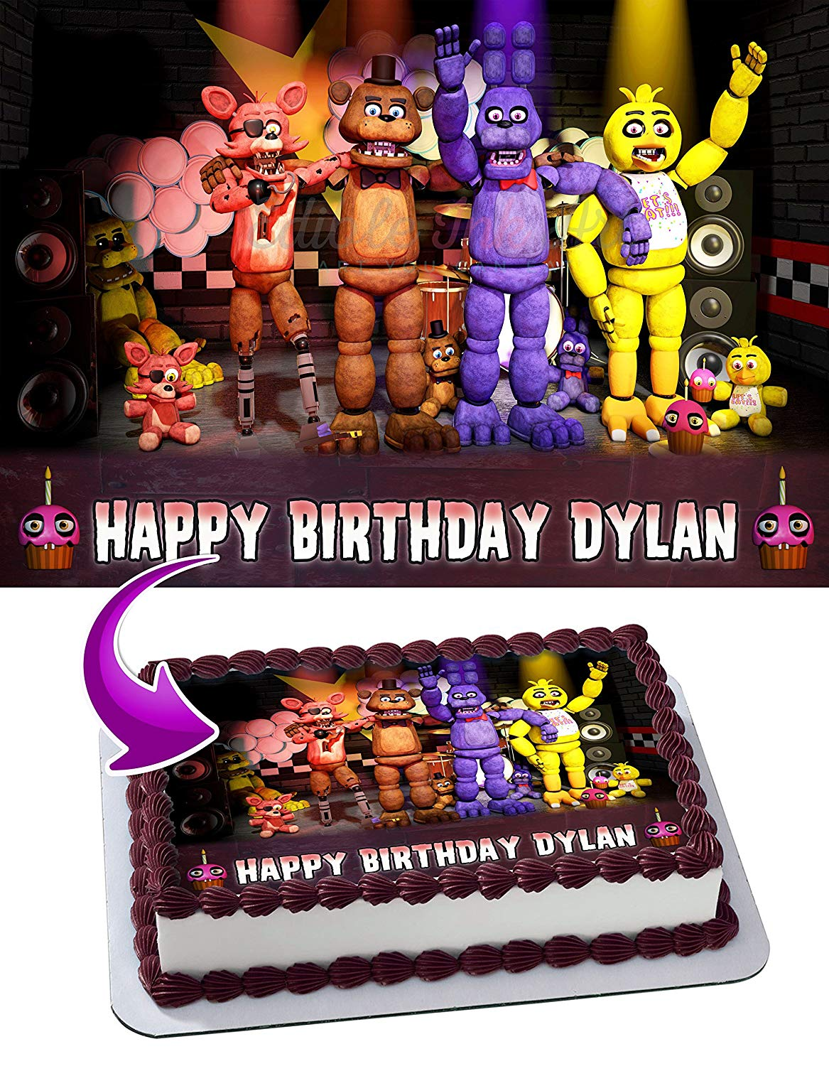 Fnaf Five Nights At Freddy S Edible Cake Image Topper Personalized Picture 1 4 Sheet 8 X10 5 Walmart Com Walmart Com