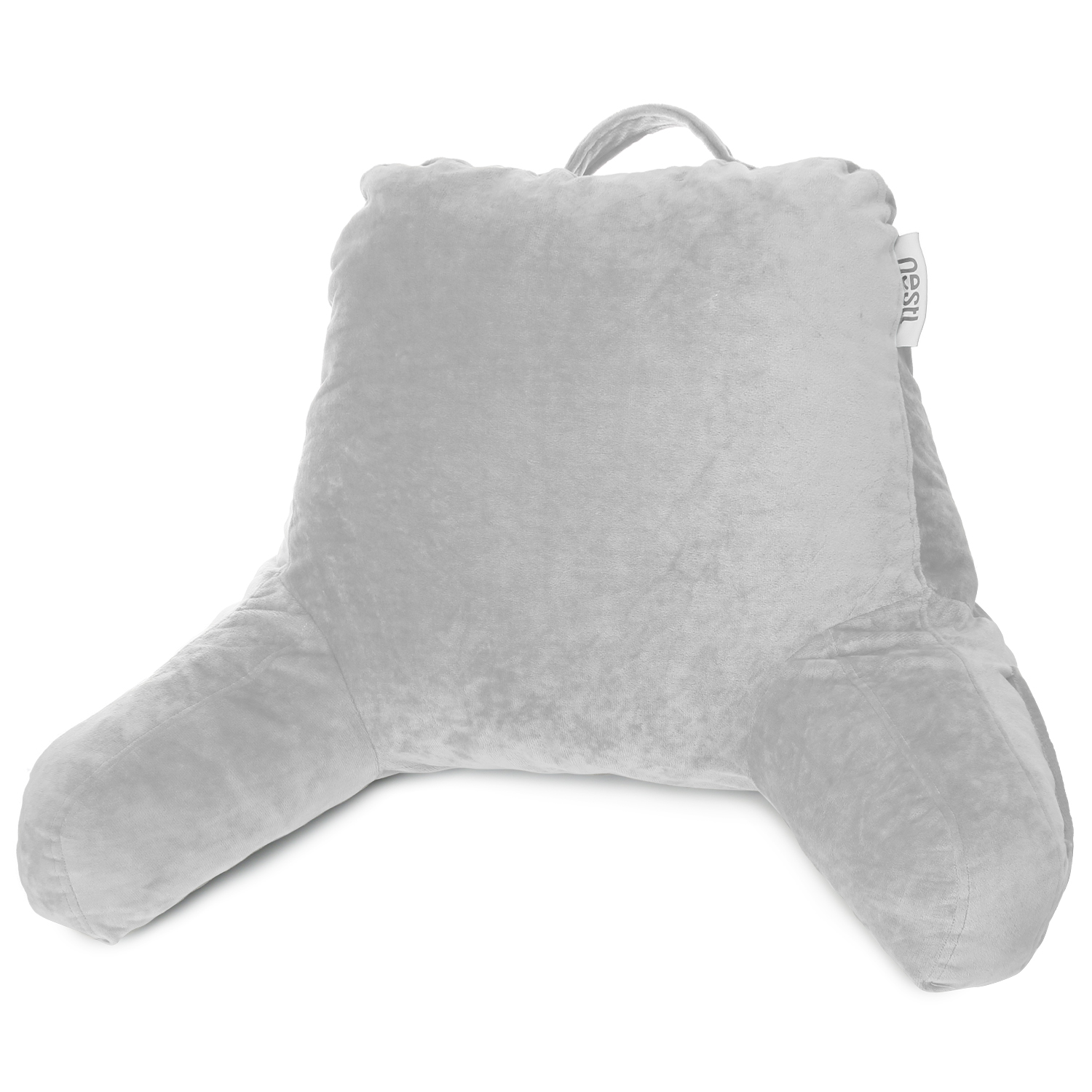 nestl reading pillow medium bed rest pillow with arms for kids teens adults premium shredded memory foam tv pillow silver