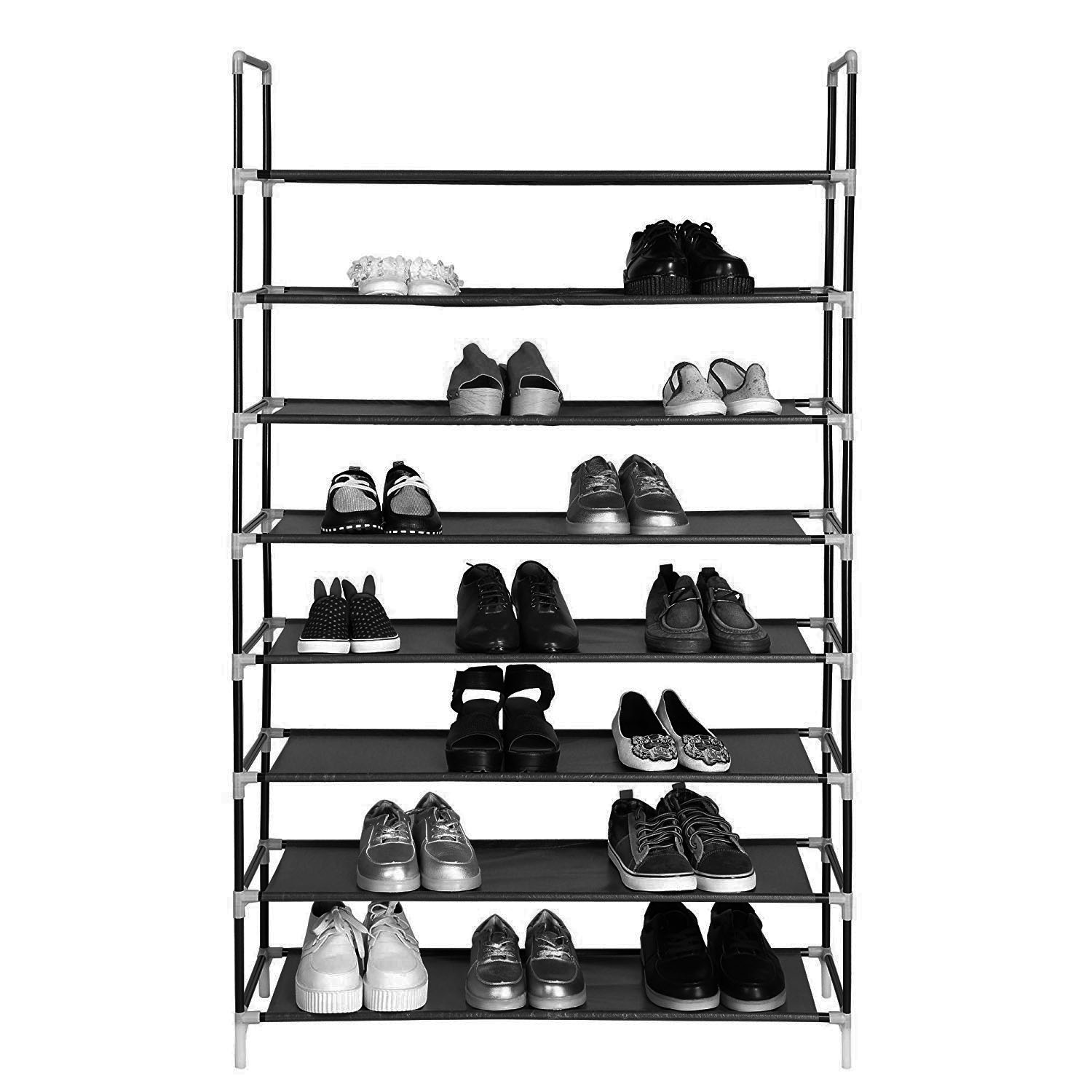 shoe rack for garage 8 tier shoe organizer for closets heavy duty shoe storage rack with metal tubes non woven fabric shoe shelf for entryway foyer