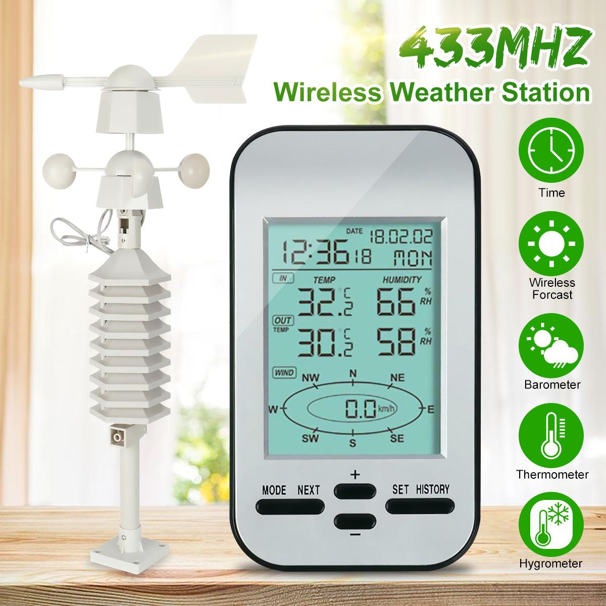 Rf 433mhz Wireless Weather Station Clock With Wind Speed
