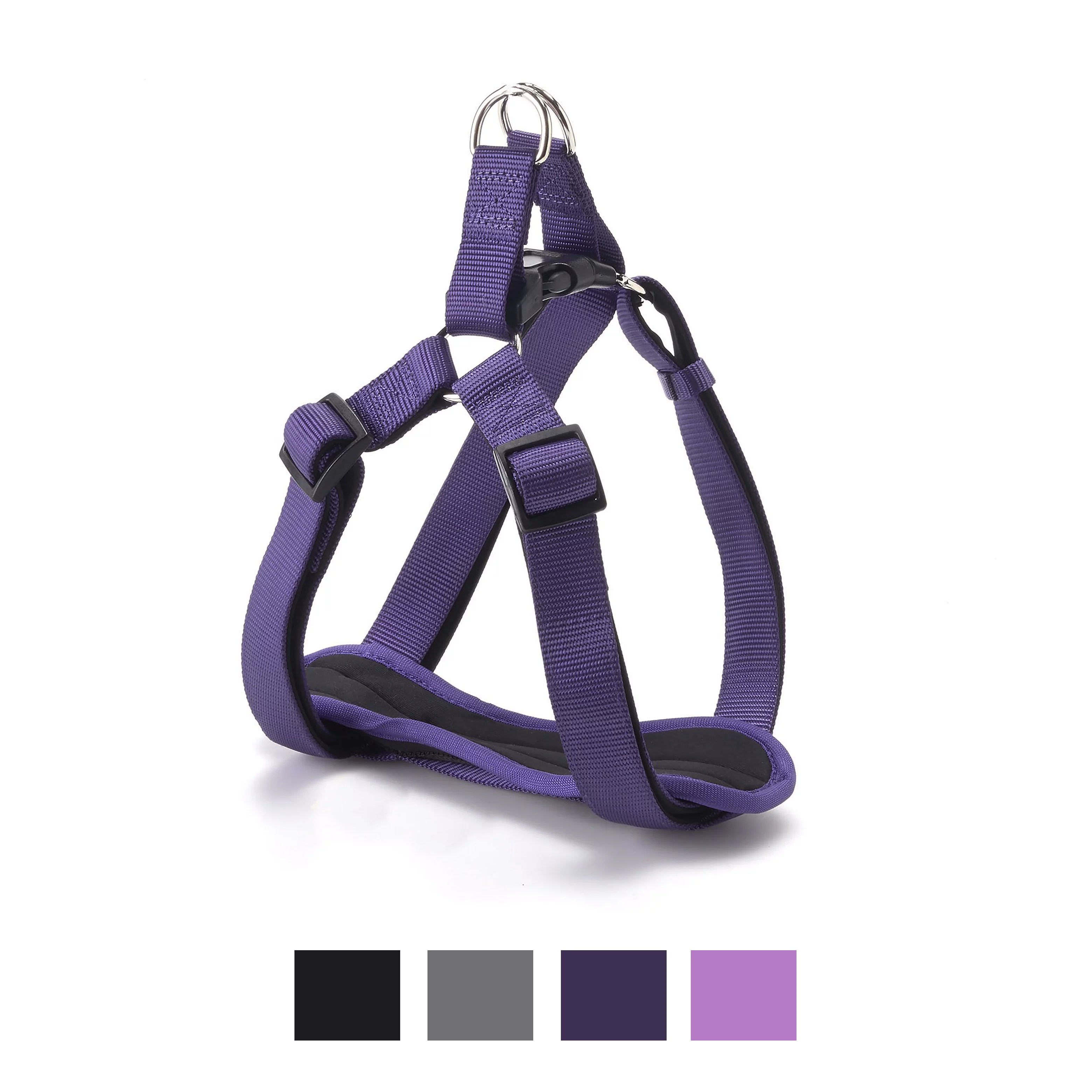 Vibrant Life Comfort Padded Step-In Dog Harness, Purple, 22-36 in