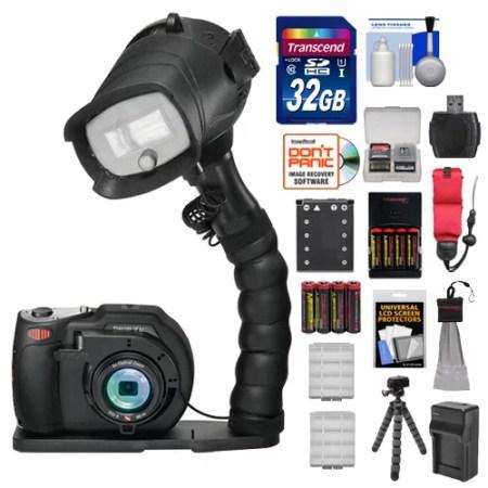 SeaLife DC1400 Pro 14MP HD Underwater Digital Camera with Flash & Flex Arm Bracket + 32GB Card + Battery & Charger + Tripod + Accessory Kit