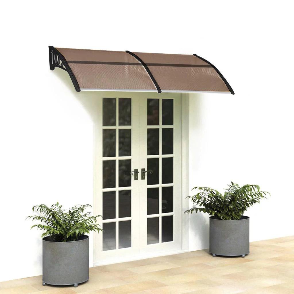 zimtown 77 x35 4 window awning outdoor polycarbonate front door patio rain cover