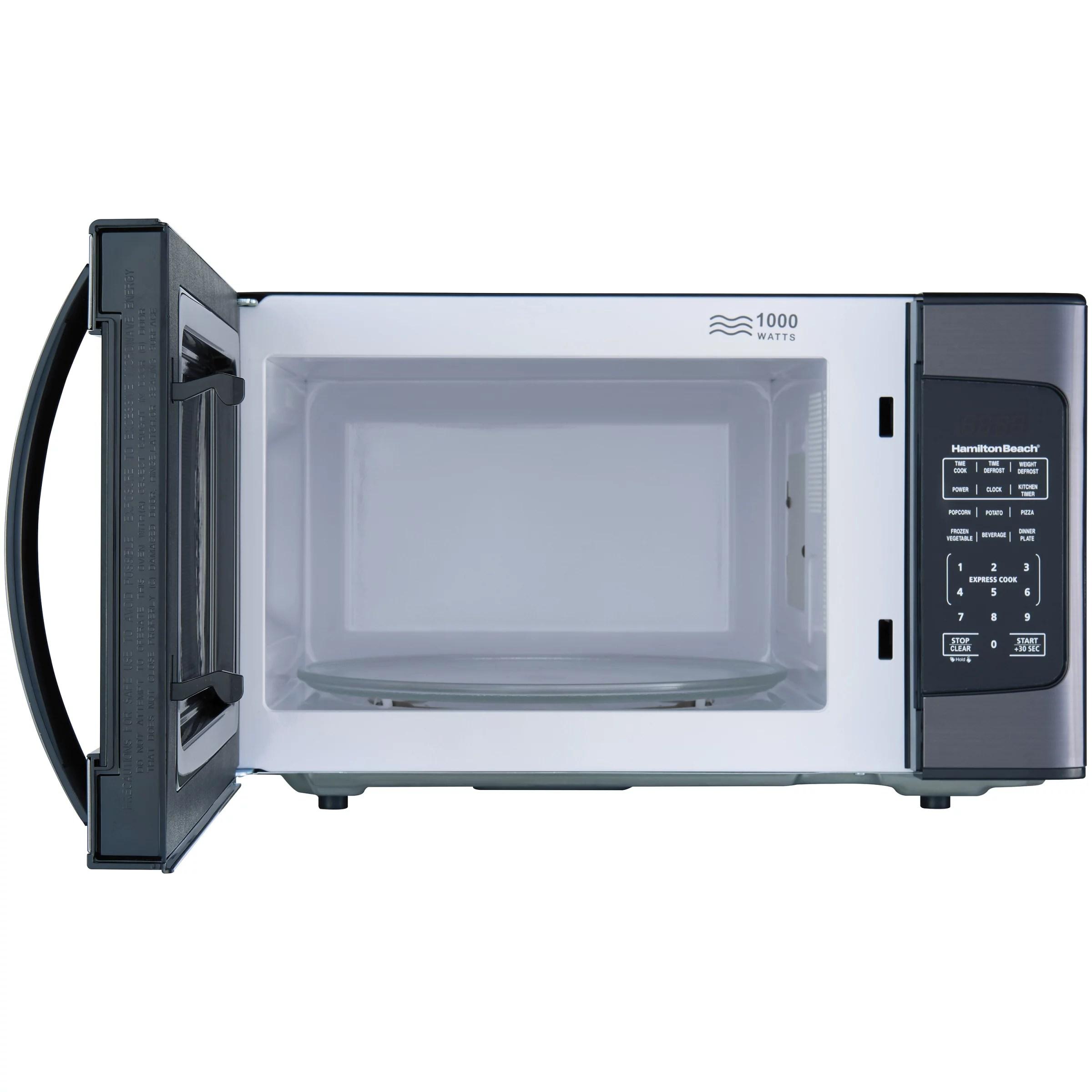 hamilton beach 1 1 cu ft 1000w black stainless steel microwave