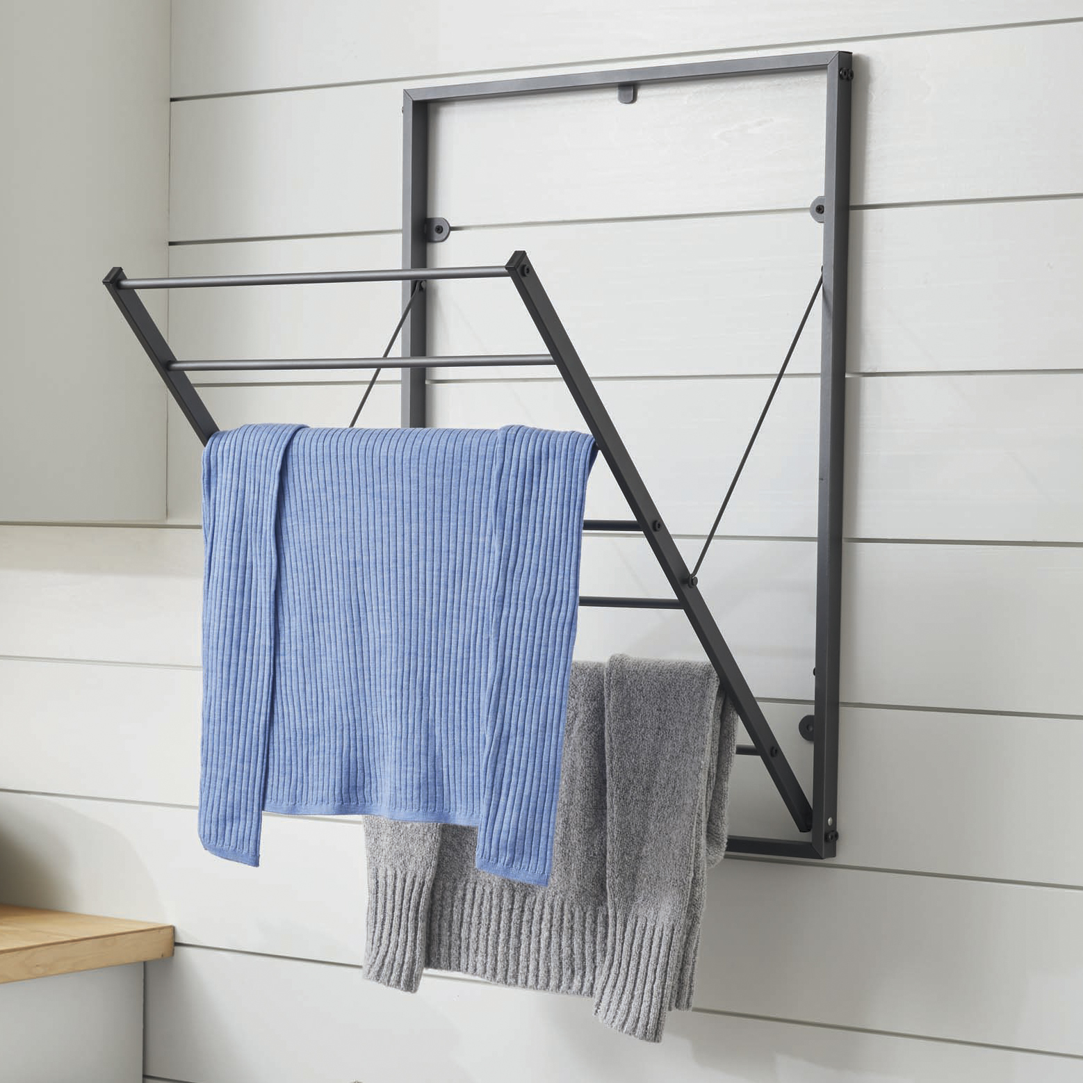 better homes gardens charleston collection steel wall mounted foldable drying rack grey