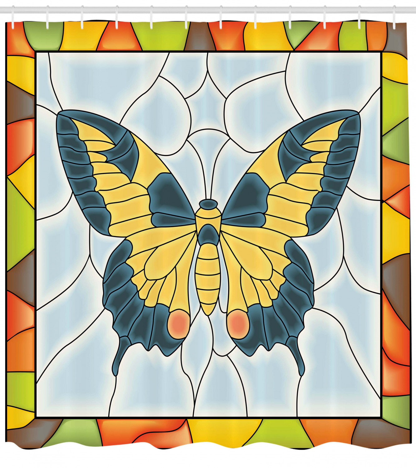 Butterflies Shower Curtain Butterfly In Stained Glass Window With Frame Wing Spring Garden Illustration Fabric Bathroom Set With Hooks Multicolor