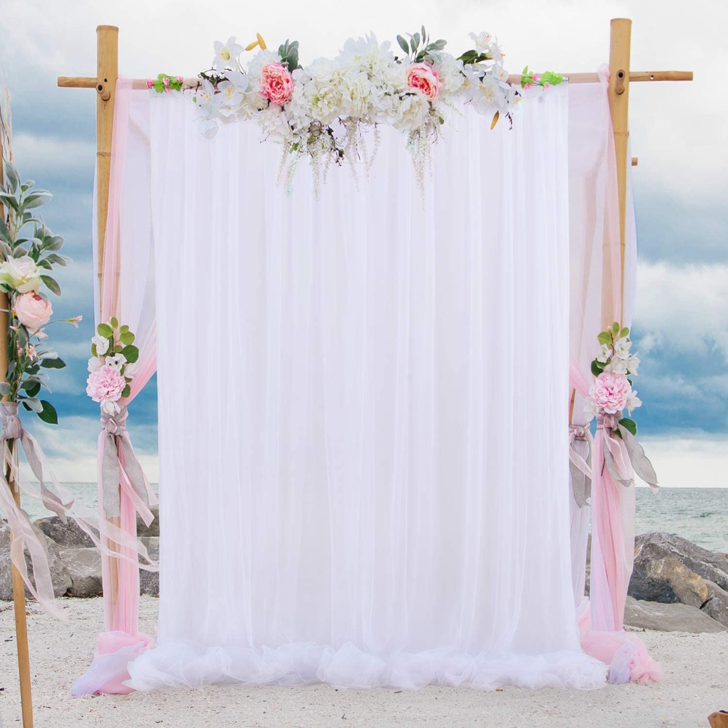 white wedding party backdrop curtain white tulle backdrop curtains engagement bridal shower photography props for baby shower party wedding 5 ft x 8