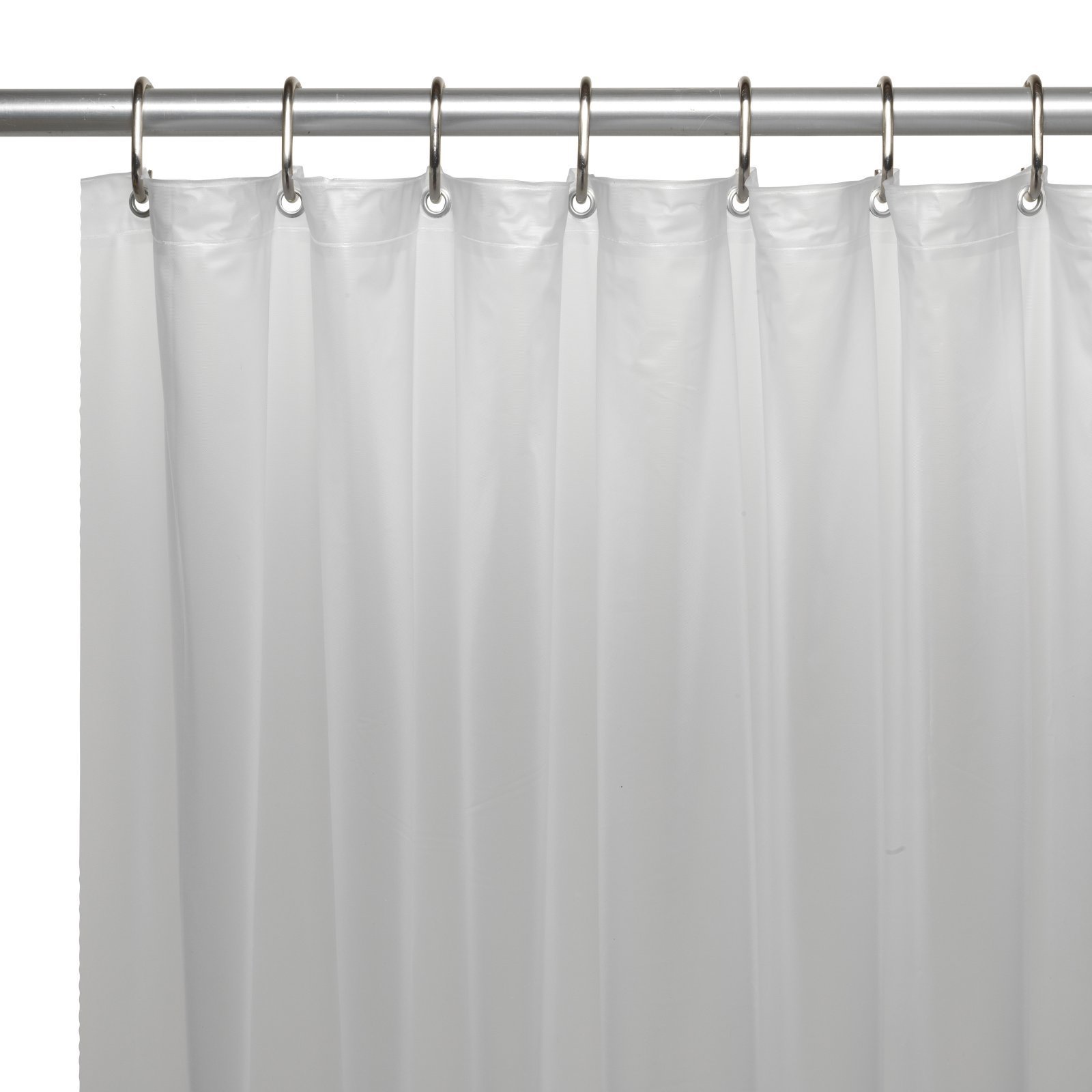 shower stall sized 54 x 78 mildew resistant 10 gauge vinyl shower curtain liner w metal grommets and reinforced mesh header in frosty clear