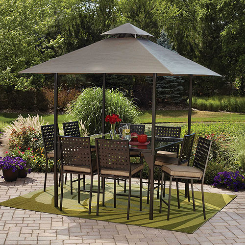 mainstays droma outdoor patio dining set cushioned metal bar height with canopy seats 8