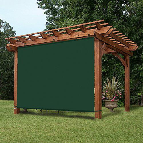 ez2hang waterproof outdoor blinds adjustable hanging panel for pergola porch patio 7x6ft darkgreen