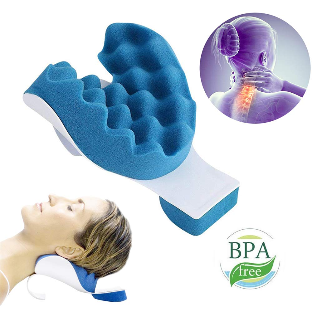 fysho chiropractic pillow neck and shoulder relaxer neck pain relief and support device shoulder relaxer massage traction pillow