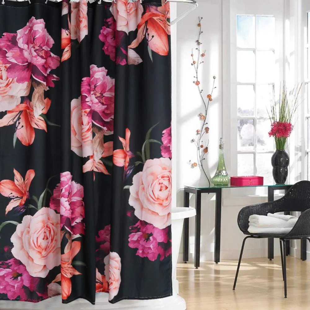popeven floral fabric shower curtain black and purple shabby chic rose flower cloth shower curtain 180 gsm thick waterproof pastel spring penny