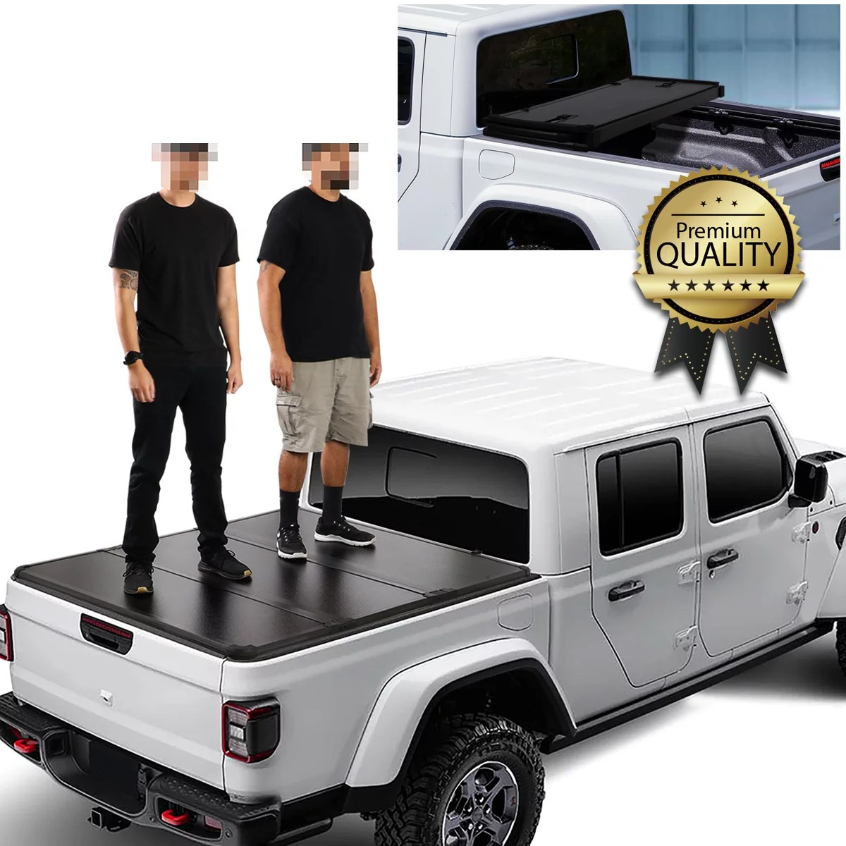 for 2020 to 2021 jeep gladiator jt pickup truck 5 5ft bed solid hard top tri fold tonneau cover walmart com
