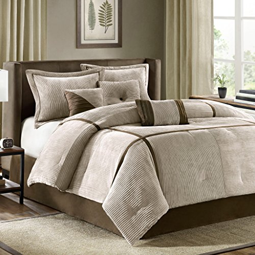 madison park dallas 7 piece comforter set california king tan