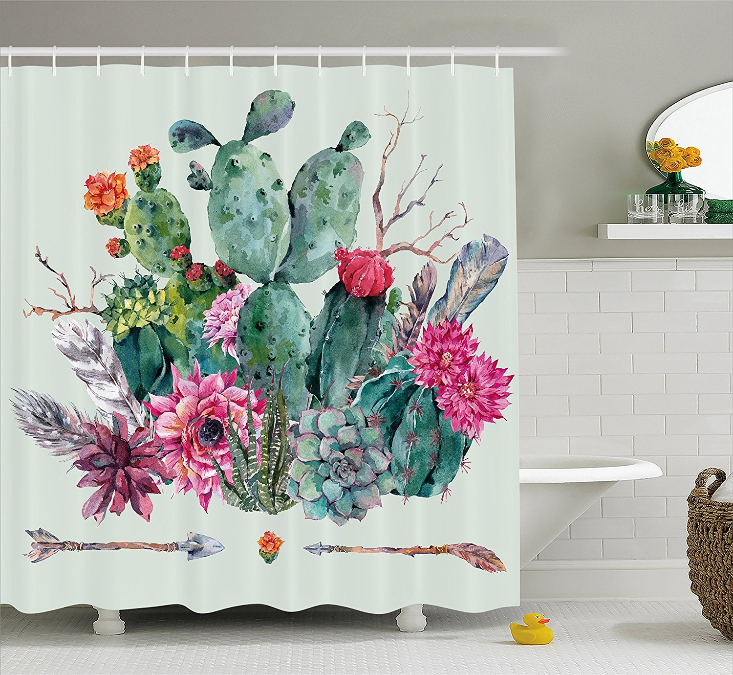 cactus decor shower curtain by spring garden with boho style bouquet of thorny plants blooms arrows feathers fabric bathroom decor set with hooks